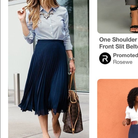 34c69c0b3c H&M Skirts   Navy Blue Pleated Midi Skirt   Poshmark
